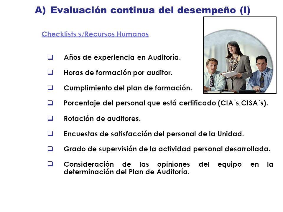 A) Evaluación continua del desempeño (I) Checklists s/Recursos Humanos Años de experiencia en Auditoría. Horas de formación por auditor. Cumplimiento