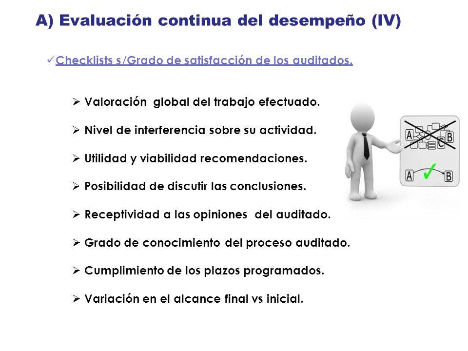 A) Evaluación continua del desempeño (IV) Checklists s/Grado de satisfacción de los auditados. Valoración global del trabajo efectuado. Nivel de inter