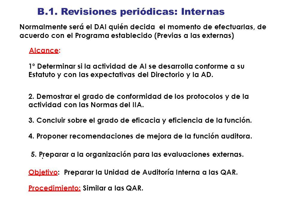 B.1. Revisiones periódicas: Internas Normalmente será el DAI quién decida el momento de efectuarlas, de acuerdo con el Programa establecido (Previas a