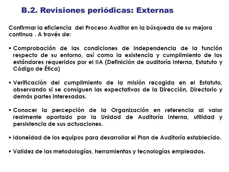 B.2. Revisiones periódicas: Externas Confirmar la eficiencia del Proceso Auditor en la búsqueda de su mejora continua. A través de: Comprobación de la