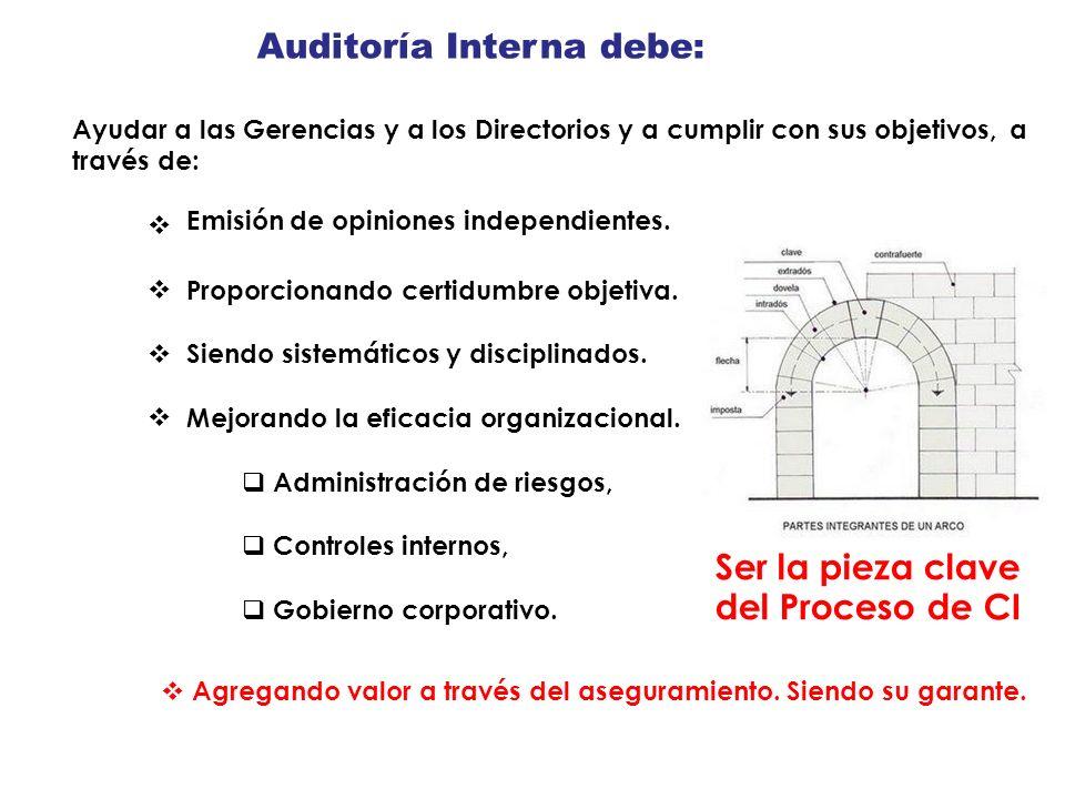 Auditoría Interna debe: Ayudar a las Gerencias y a los Directorios y a cumplir con sus objetivos, a través de: Emisión de opiniones independientes. Pr