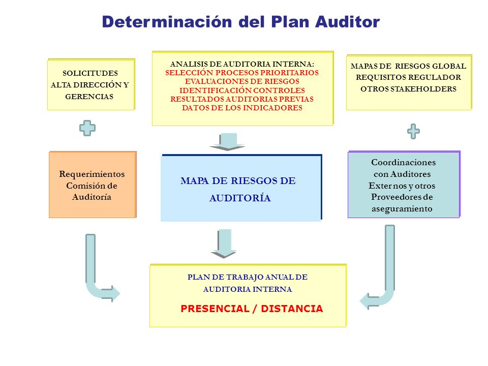 Determinación del Plan Auditor ALTA DIRECCIÓN Y PLAN DE TRABAJO ANUAL DE AUDITORIA INTERNA PRESENCIAL / DISTANCIA MAPA DE RIESGOS DE AUDITORÍA Coordin