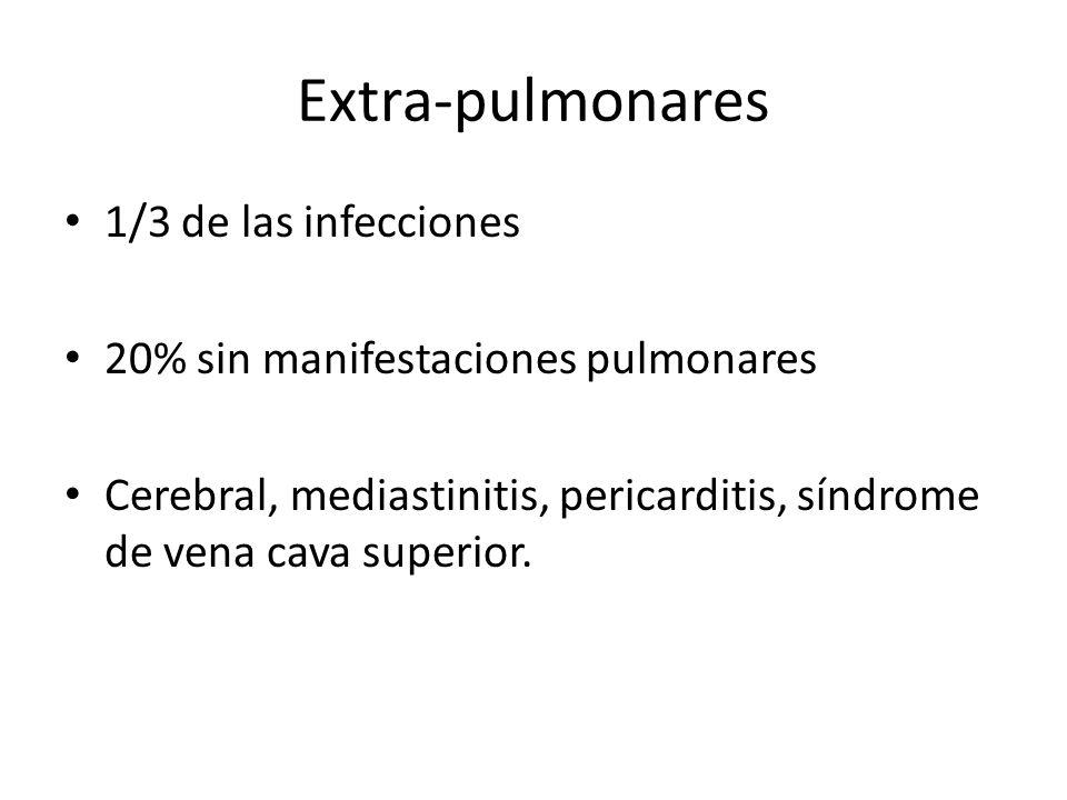 Extra-pulmonares 1/3 de las infecciones 20% sin manifestaciones pulmonares Cerebral, mediastinitis, pericarditis, síndrome de vena cava superior.