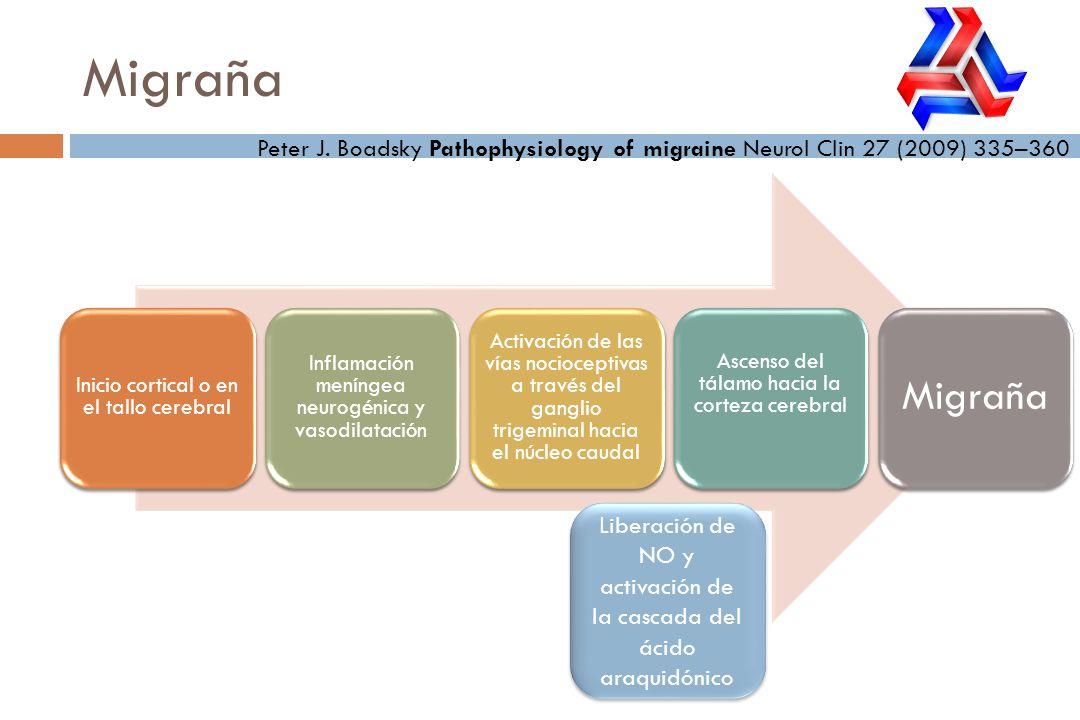 Migraña Peter J. Boadsky Pathophysiology of migraine Neurol Clin 27 (2009) 335–360 Inicio cortical o en el tallo cerebral Inflamación meníngea neurogé