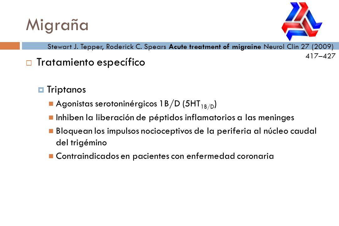 Tratamiento específico Triptanos Agonistas serotoninérgicos 1B/D (5HT 1B/D ) Inhiben la liberación de péptidos inflamatorios a las meninges Bloquean l