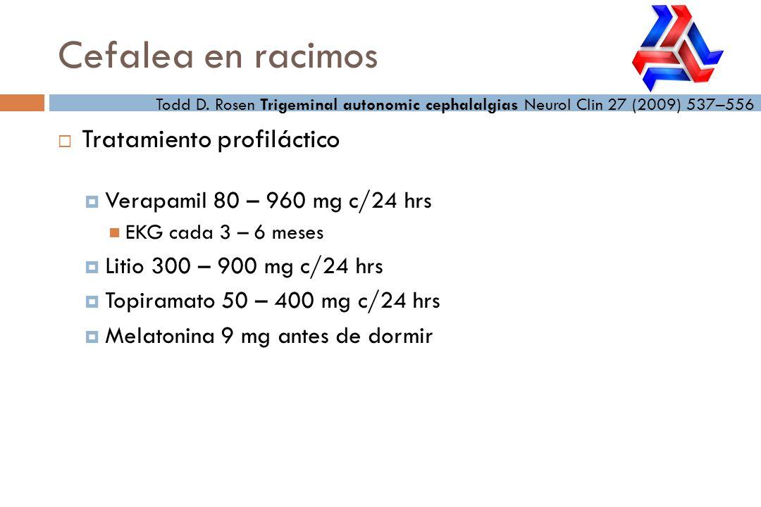Tratamiento profiláctico Verapamil 80 – 960 mg c/24 hrs EKG cada 3 – 6 meses Litio 300 – 900 mg c/24 hrs Topiramato 50 – 400 mg c/24 hrs Melatonina 9