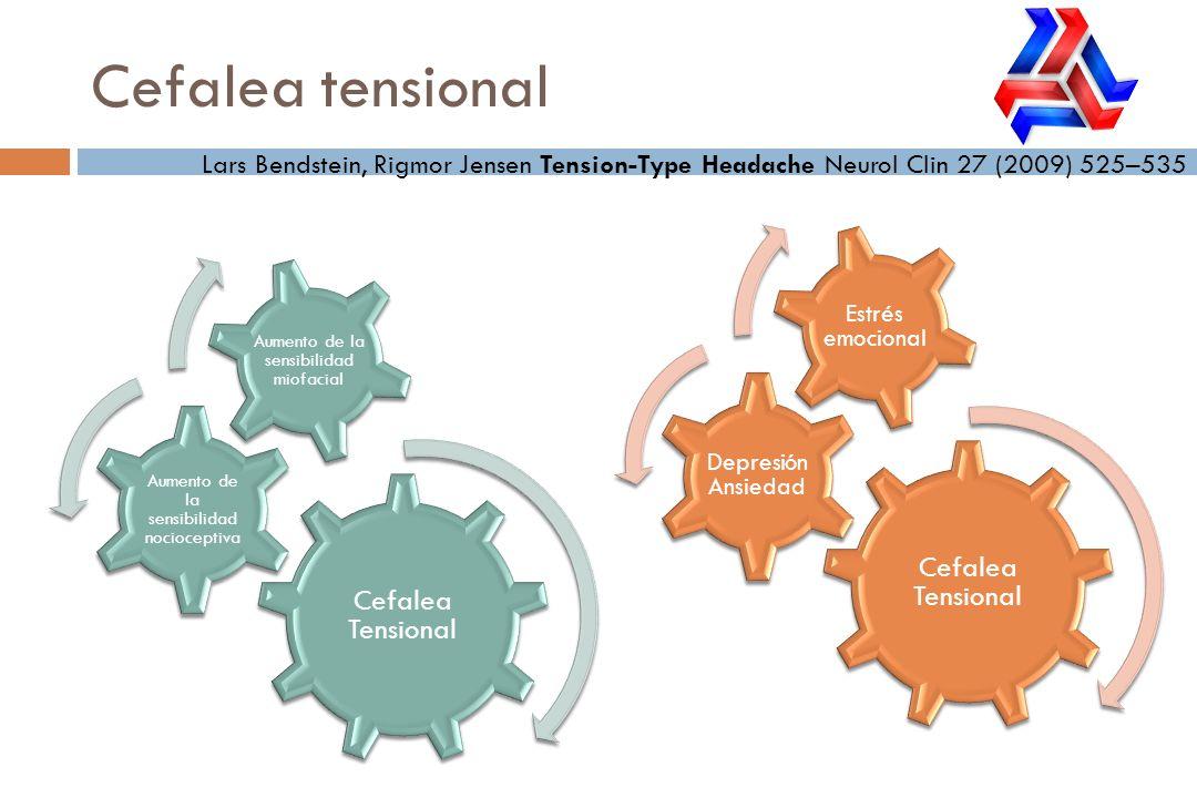 Cefalea tensional Lars Bendstein, Rigmor Jensen Tension-Type Headache Neurol Clin 27 (2009) 525–535 Cefalea Tensional Depresión Ansiedad Estrés emocio