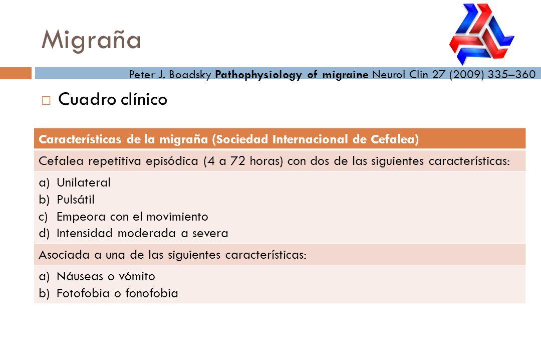 Cuadro clínico Migraña Peter J. Boadsky Pathophysiology of migraine Neurol Clin 27 (2009) 335–360 Características de la migraña (Sociedad Internaciona