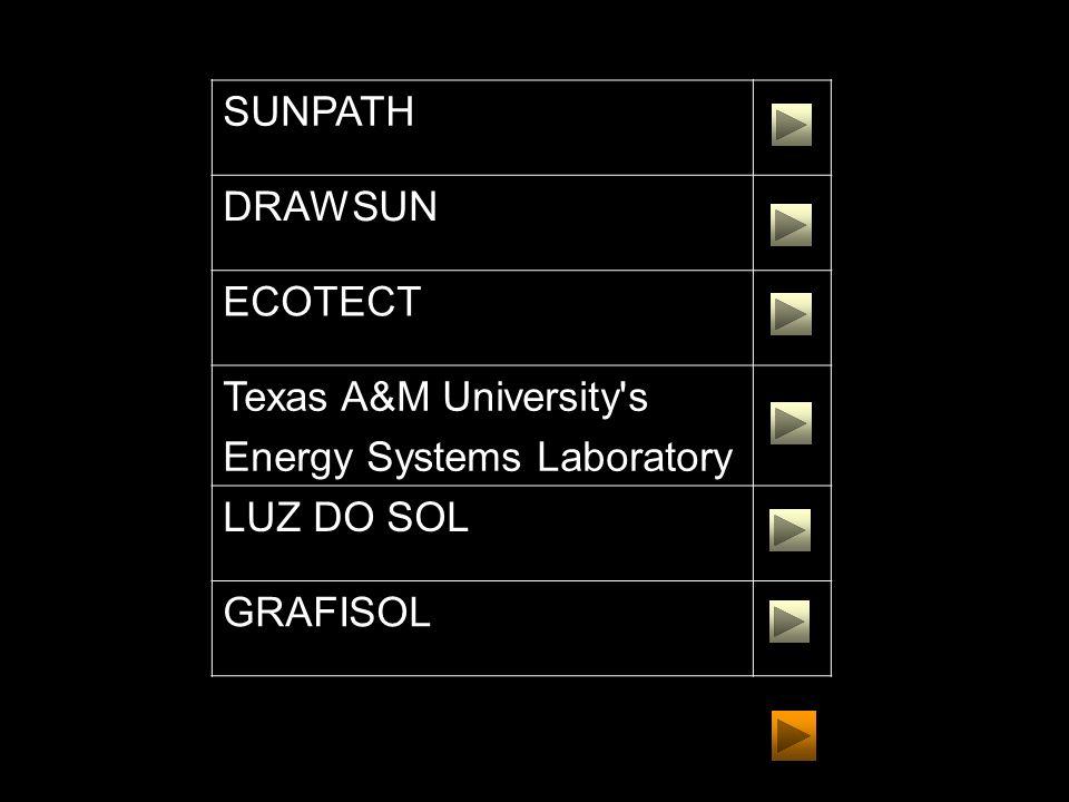 SUNPATH DRAWSUN ECOTECT Texas A&M University's Energy Systems Laboratory LUZ DO SOL GRAFISOL