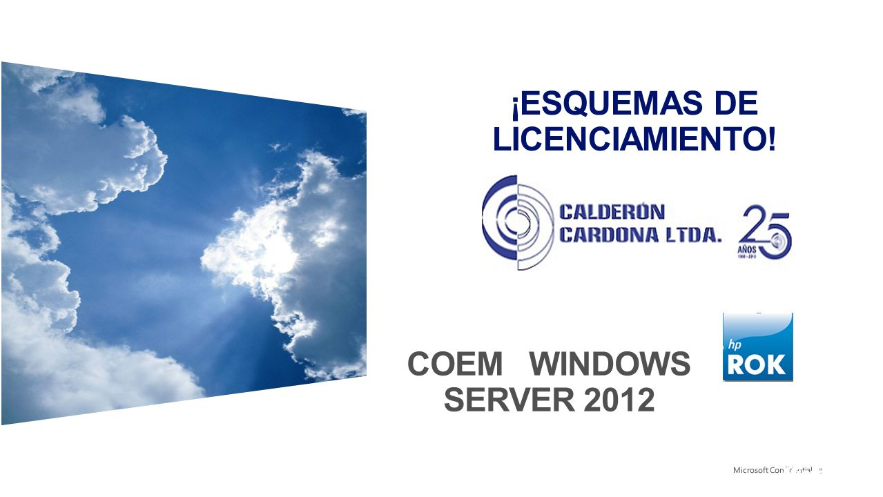 ¡ESQUEMAS DE LICENCIAMIENTO! COEM WINDOWS SERVER 2012