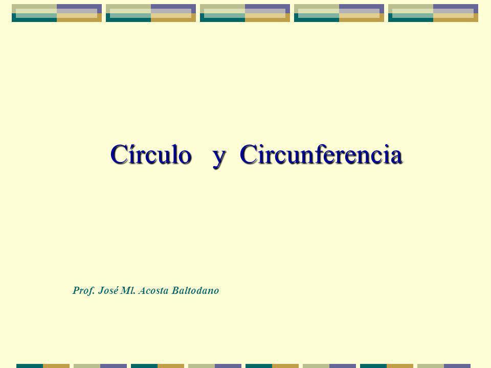 Círculo y Circunferencia Prof. José Ml. Acosta Baltodano