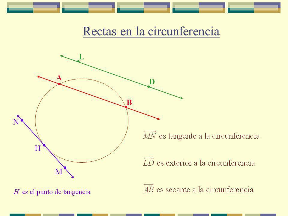 A. B. Rectas en la circunferencia M N... H L. D.