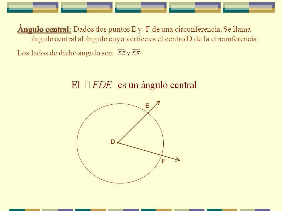 Arco: Arco: Sean A y B dos puntos de una circunferencia de centro C tales que NO sea un diámetro, entonces: 1.