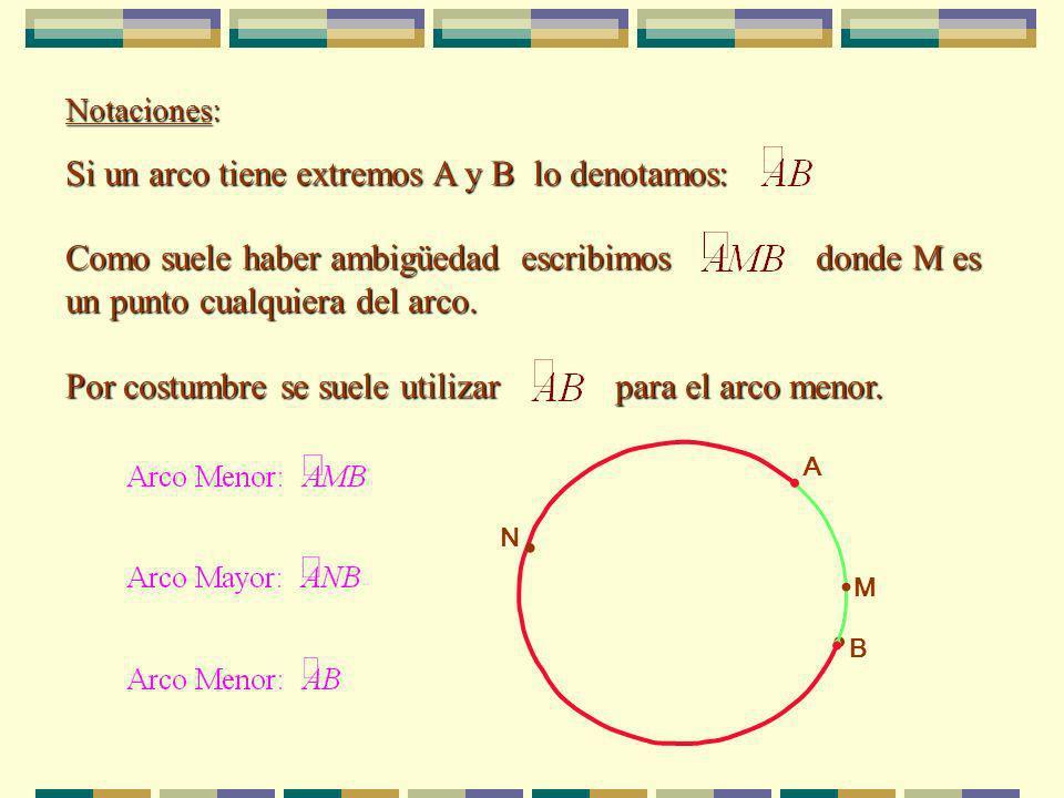 Notaciones: Si un arco tiene extremos A y B lo denotamos: Como suele haber ambigüedad escribimos donde M es un punto cualquiera del arco.