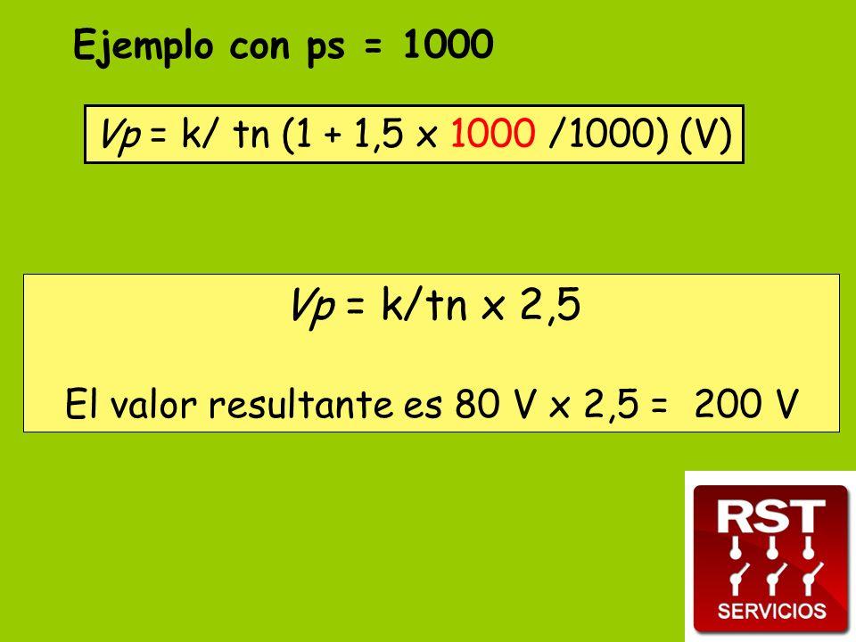 Vp = k/ tn (1 + 1,5 x 1000 /1000) (V) Ejemplo con ps = 1000 Vp = k/tn x 2,5 El valor resultante es 80 V x 2,5 = 200 V