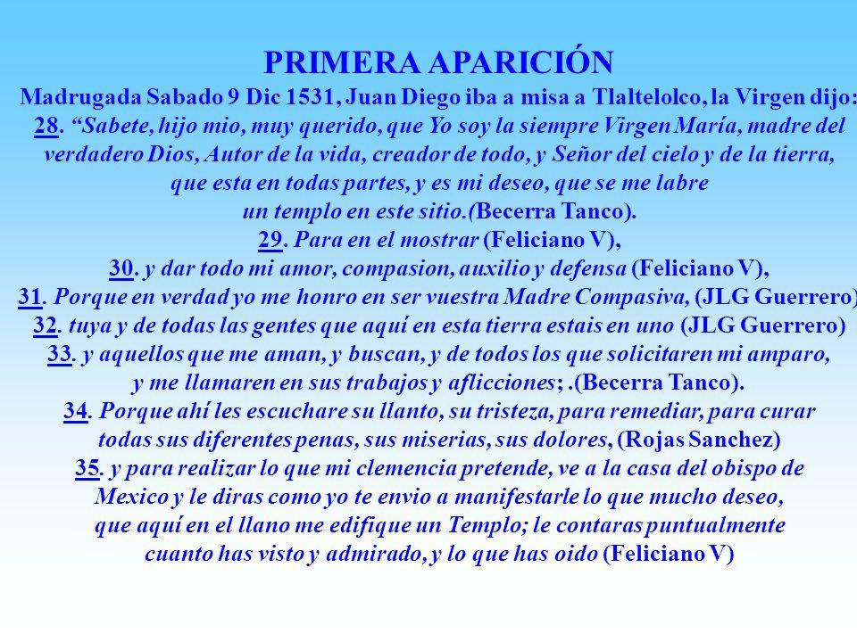 El Nican Mopohua, es el relato verdadero de las apariciones de La Virgen Maria a Juan Diego (Cuauhtlactoatzin), fue escrito en Náhuatl en papel hecho