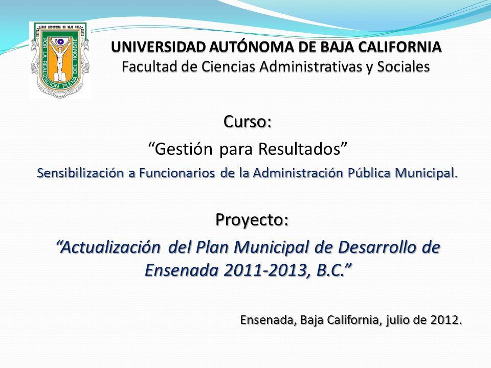 Curso: Gestión para Resultados Sensibilización a Funcionarios de la Administración Pública Municipal. Proyecto: Proyecto: Actualización del Plan Munic