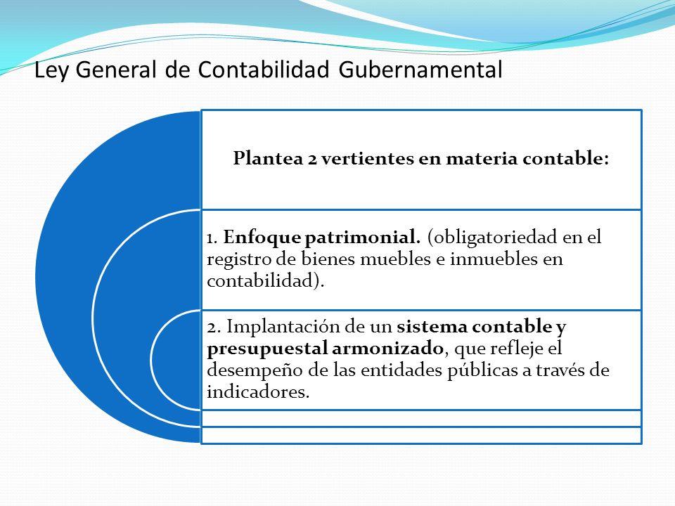 Plantea 2 vertientes en materia contable: 1. Enfoque patrimonial. (obligatoriedad en el registro de bienes muebles e inmuebles en contabilidad). 2. Im