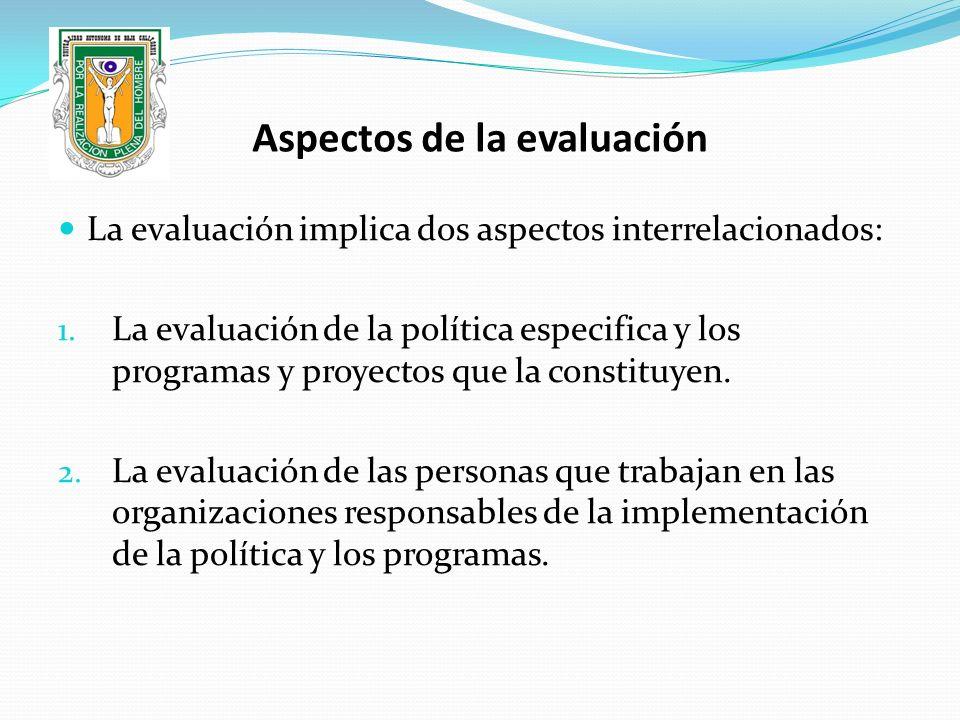 Aspectos de la evaluación La evaluación implica dos aspectos interrelacionados: 1. La evaluación de la política especifica y los programas y proyectos