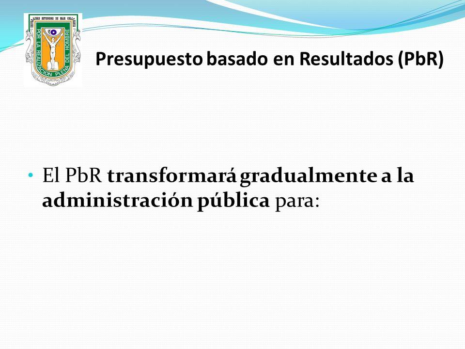 El PbR transformará gradualmente a la administración pública para: Presupuesto basado en Resultados (PbR)