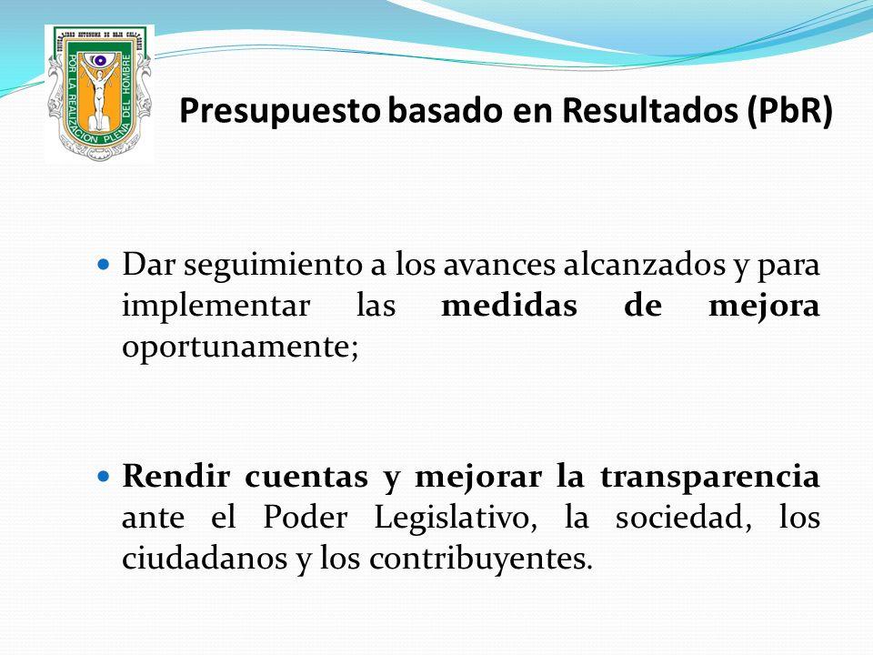 Dar seguimiento a los avances alcanzados y para implementar las medidas de mejora oportunamente; Rendir cuentas y mejorar la transparencia ante el Pod