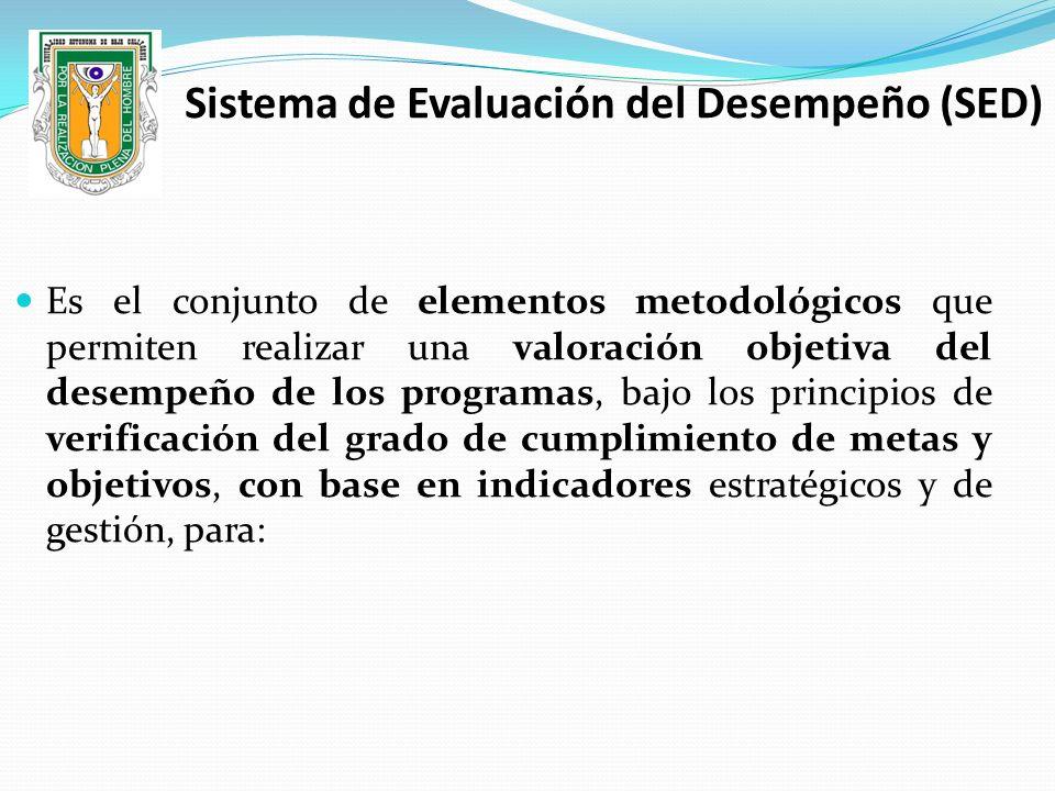 Sistema de Evaluación del Desempeño (SED) Es el conjunto de elementos metodológicos que permiten realizar una valoración objetiva del desempeño de los