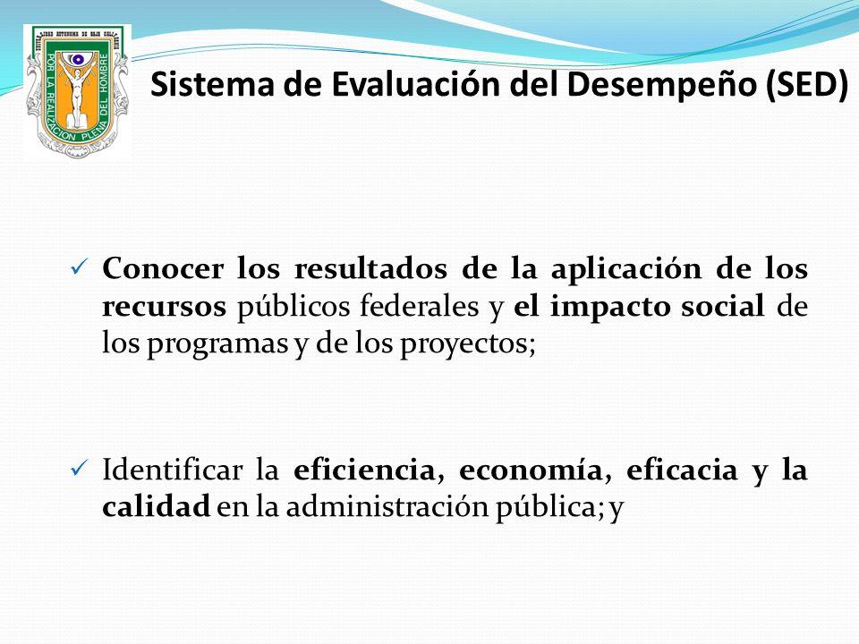 Conocer los resultados de la aplicación de los recursos públicos federales y el impacto social de los programas y de los proyectos; Identificar la efi