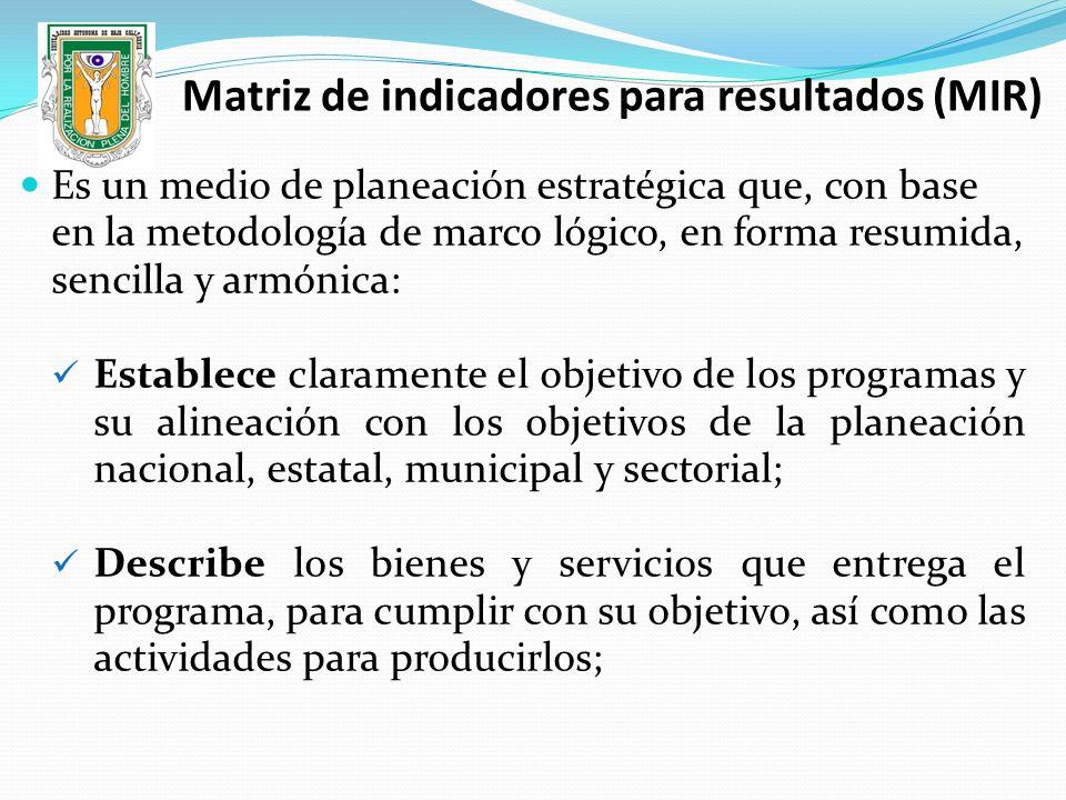 Matriz de indicadores para resultados (MIR) Es un medio de planeación estratégica que, con base en la metodología de marco lógico, en forma resumida,