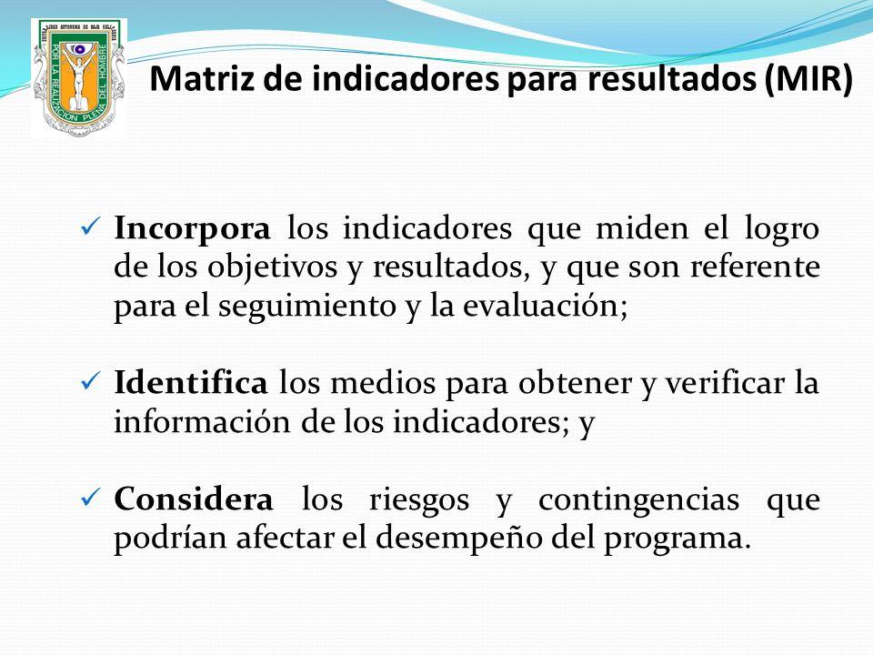 Incorpora los indicadores que miden el logro de los objetivos y resultados, y que son referente para el seguimiento y la evaluación; Identifica los me