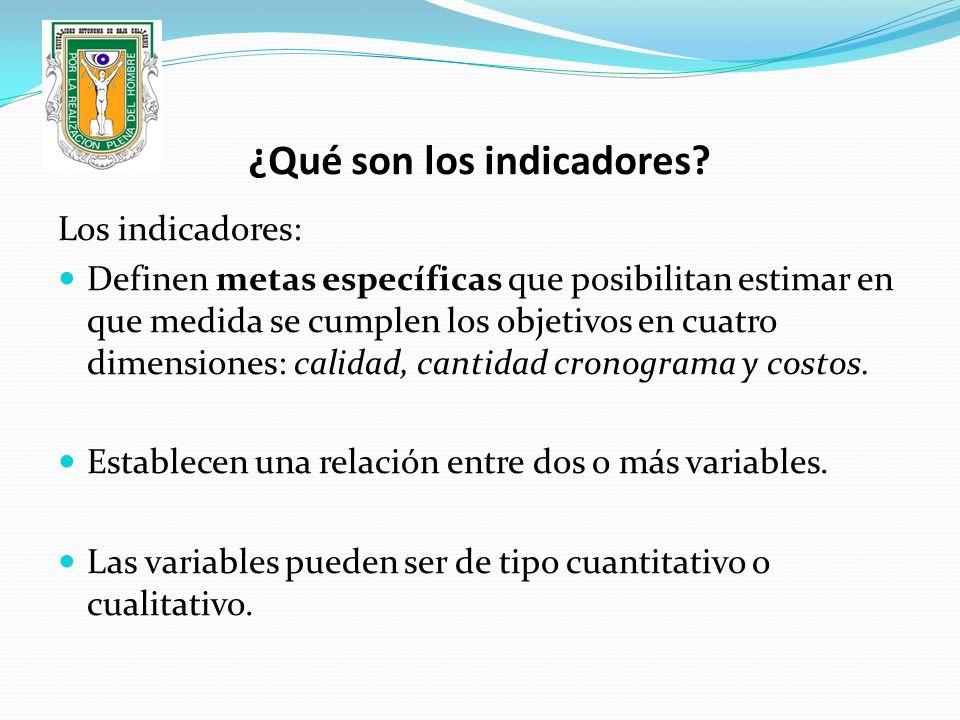¿Qué son los indicadores? Los indicadores: Definen metas específicas que posibilitan estimar en que medida se cumplen los objetivos en cuatro dimensio