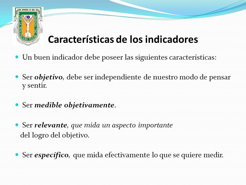 Características de los indicadores Un buen indicador debe poseer las siguientes características: Ser objetivo, debe ser independiente de nuestro modo