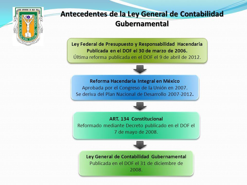 Antecedentes de la Ley General de Contabilidad Gubernamental ART. 134 Constitucional Reformado mediante Decreto publicado en el DOF el 7 de mayo de 20