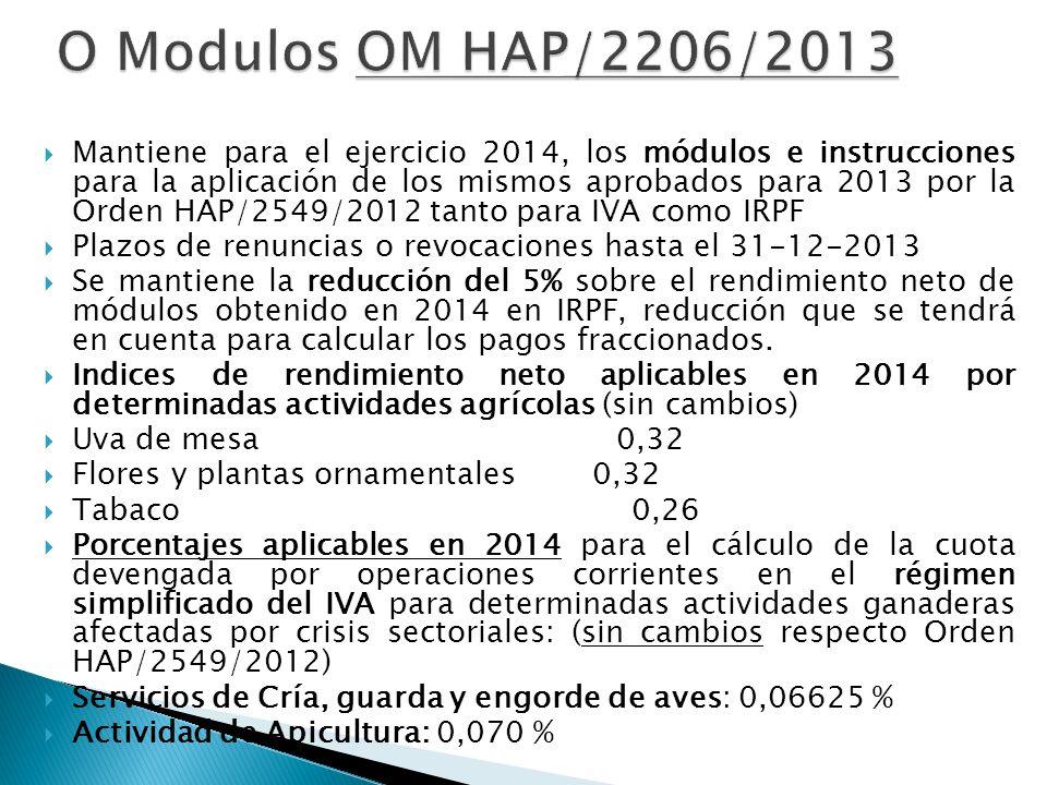Mantiene para el ejercicio 2014, los módulos e instrucciones para la aplicación de los mismos aprobados para 2013 por la Orden HAP/2549/2012 tanto par