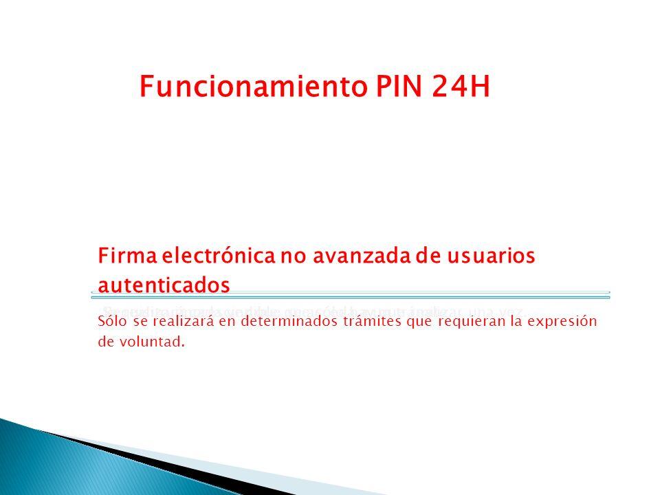 Funcionamiento PIN 24H Registro previo Requisito imprescindible que sólo hay que realizar una vez. Autenticación Se realizará cada vez que se acceda a