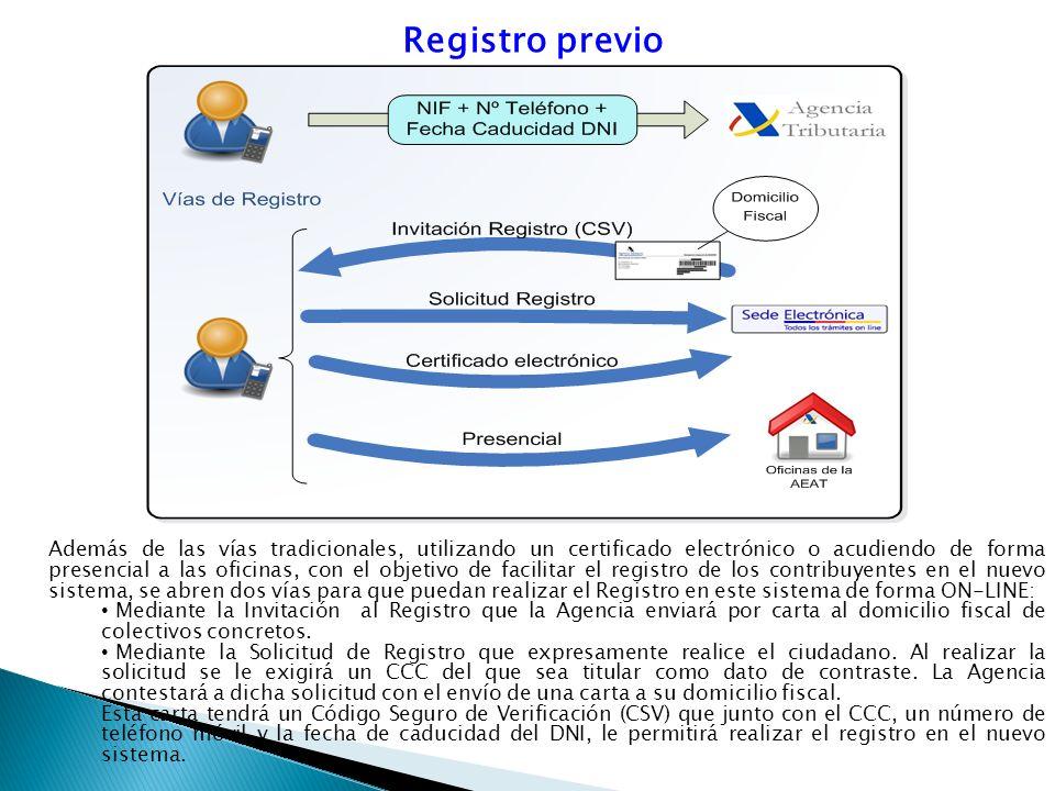 Registro previo Además de las vías tradicionales, utilizando un certificado electrónico o acudiendo de forma presencial a las oficinas, con el objetiv