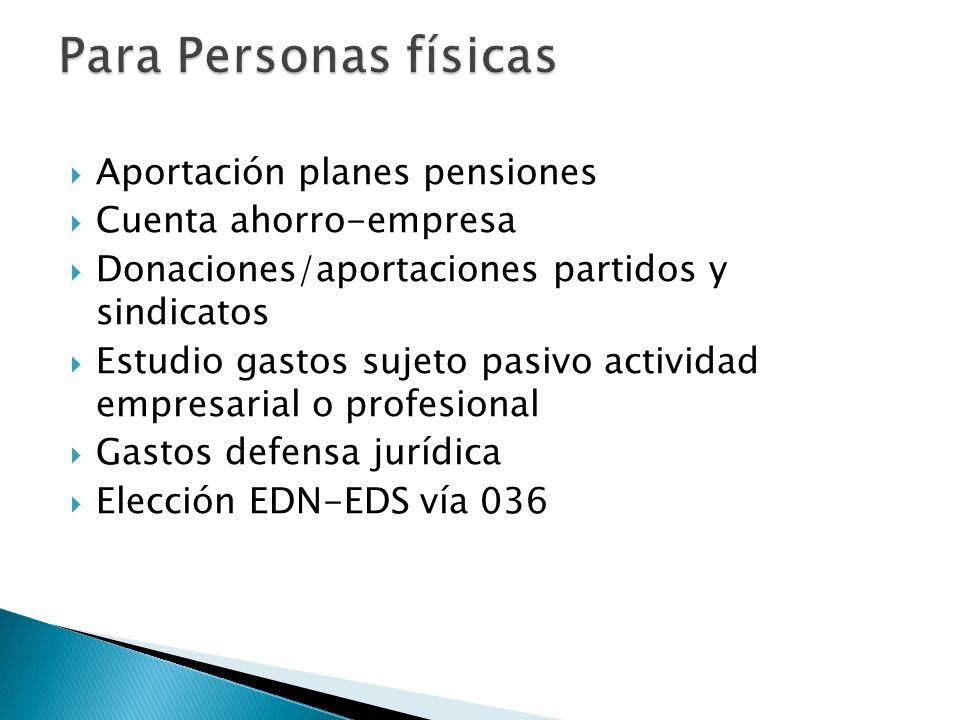 Aportación planes pensiones Cuenta ahorro-empresa Donaciones/aportaciones partidos y sindicatos Estudio gastos sujeto pasivo actividad empresarial o p