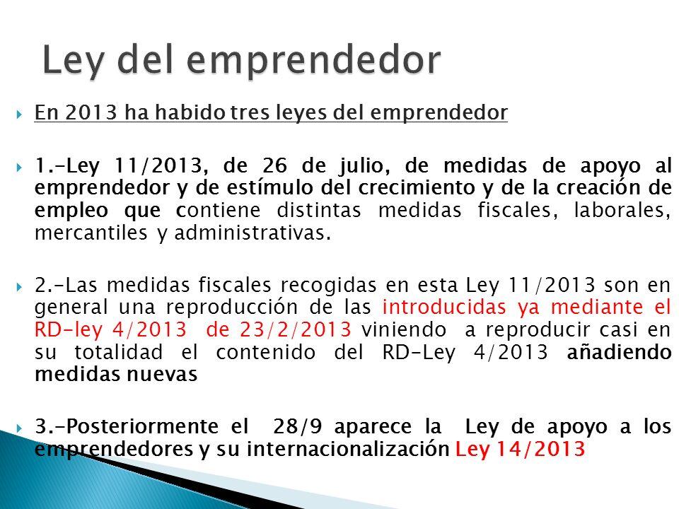 En 2013 ha habido tres leyes del emprendedor 1.-Ley 11/2013, de 26 de julio, de medidas de apoyo al emprendedor y de estímulo del crecimiento y de la