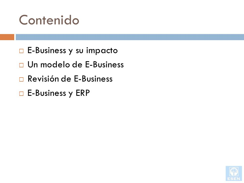 E-Business y ERP, business to business Los proveedores de ERP incorporaran EAI (Enterprise Application Integration) para soportar BCI (Business Community Integration) Nuevos estándares/especificaciones para soportar B2B OBI (Open Buying over the Internet) OTP (Open Trading Protocol) XML (extensive Markup Language) Intercambios electrónicos Ej.