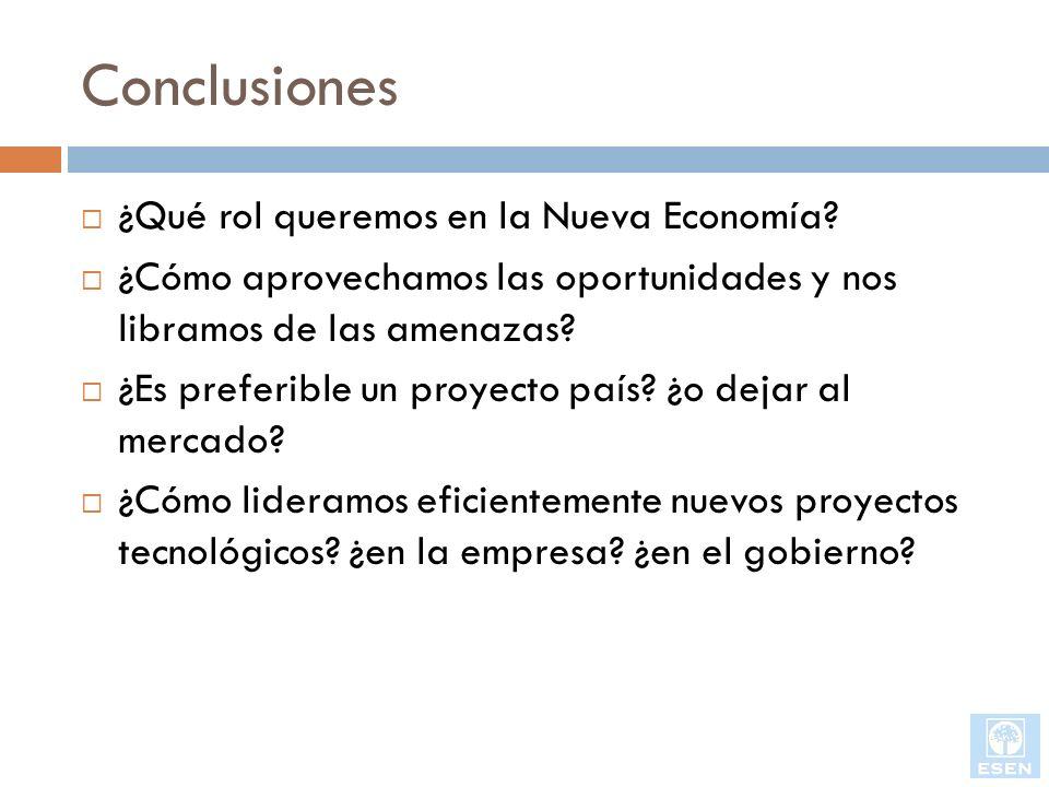 Conclusiones ¿Qué rol queremos en la Nueva Economía? ¿Cómo aprovechamos las oportunidades y nos libramos de las amenazas? ¿Es preferible un proyecto p