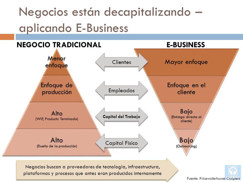 Negocios están decapitalizando – aplicando E-Business Clientes Empleados Capital del Trabajo Capital Físico NEGOCIO TRADICIONALE-BUSINESS Negocios bus