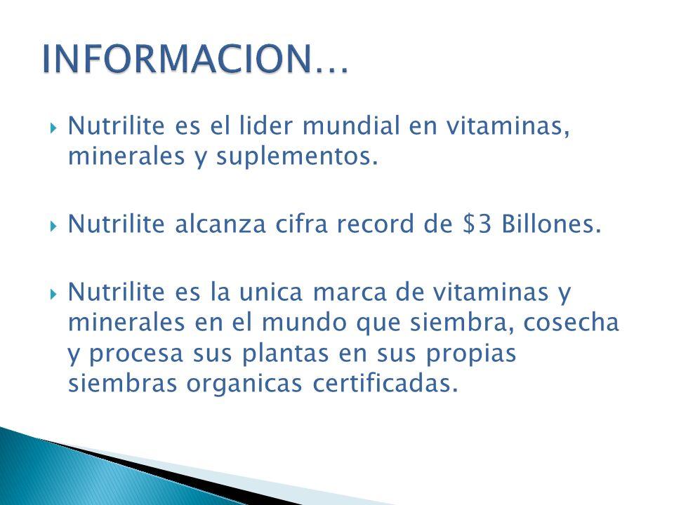 Nutrilite es el lider mundial en vitaminas, minerales y suplementos. Nutrilite alcanza cifra record de $3 Billones. Nutrilite es la unica marca de vit