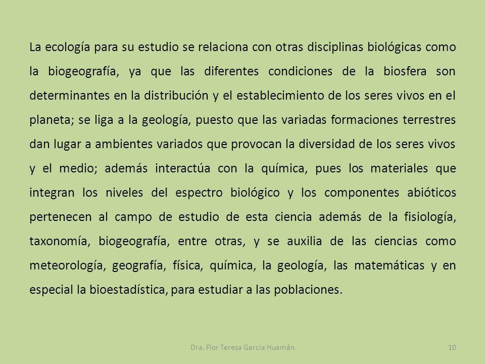 La ecología para su estudio se relaciona con otras disciplinas biológicas como la biogeografía, ya que las diferentes condiciones de la biosfera son d