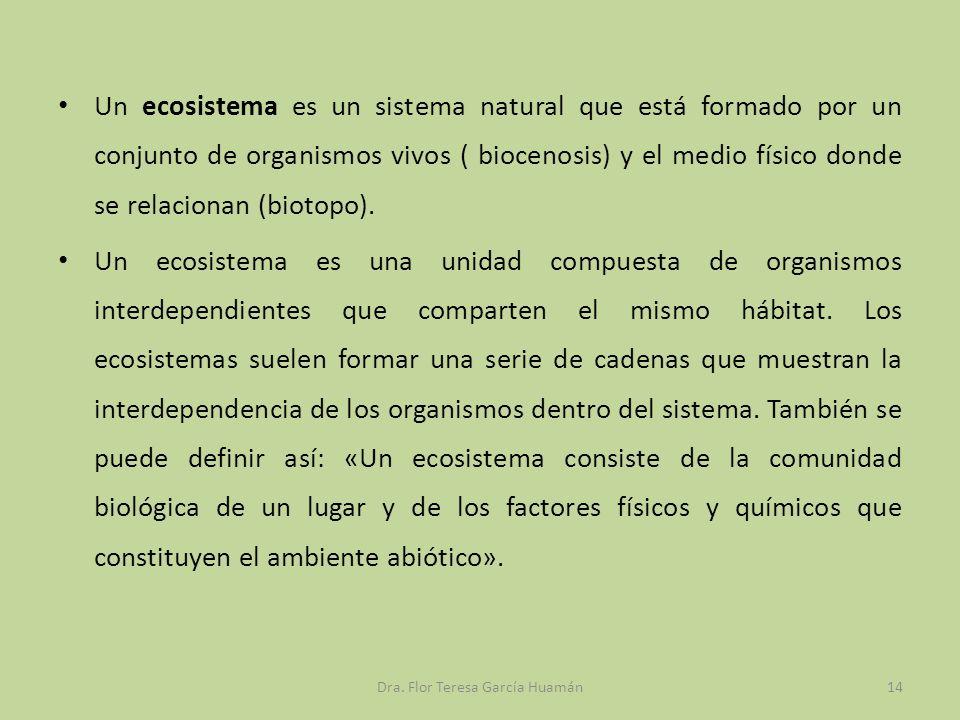 Un ecosistema es un sistema natural que está formado por un conjunto de organismos vivos ( biocenosis) y el medio físico donde se relacionan (biotopo)