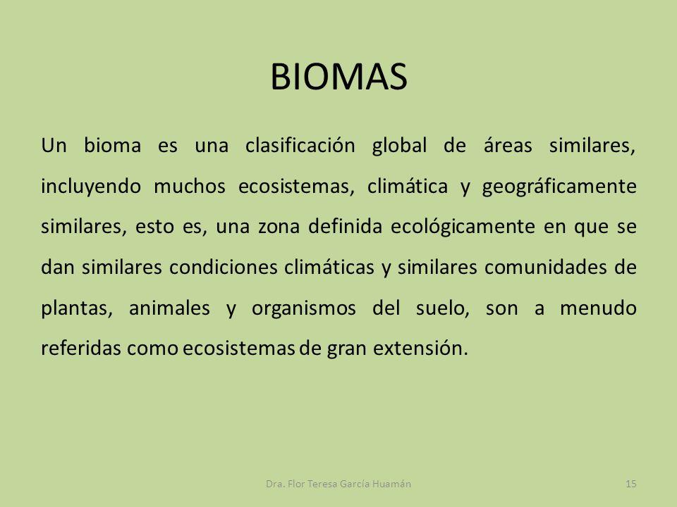 BIOMAS Un bioma es una clasificación global de áreas similares, incluyendo muchos ecosistemas, climática y geográficamente similares, esto es, una zon