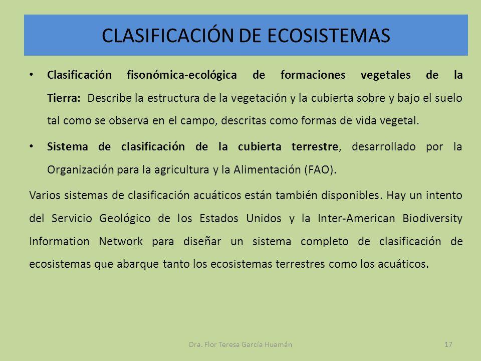 CLASIFICACIÓN DE ECOSISTEMAS Clasificación fisonómica-ecológica de formaciones vegetales de la Tierra: Describe la estructura de la vegetación y la cu