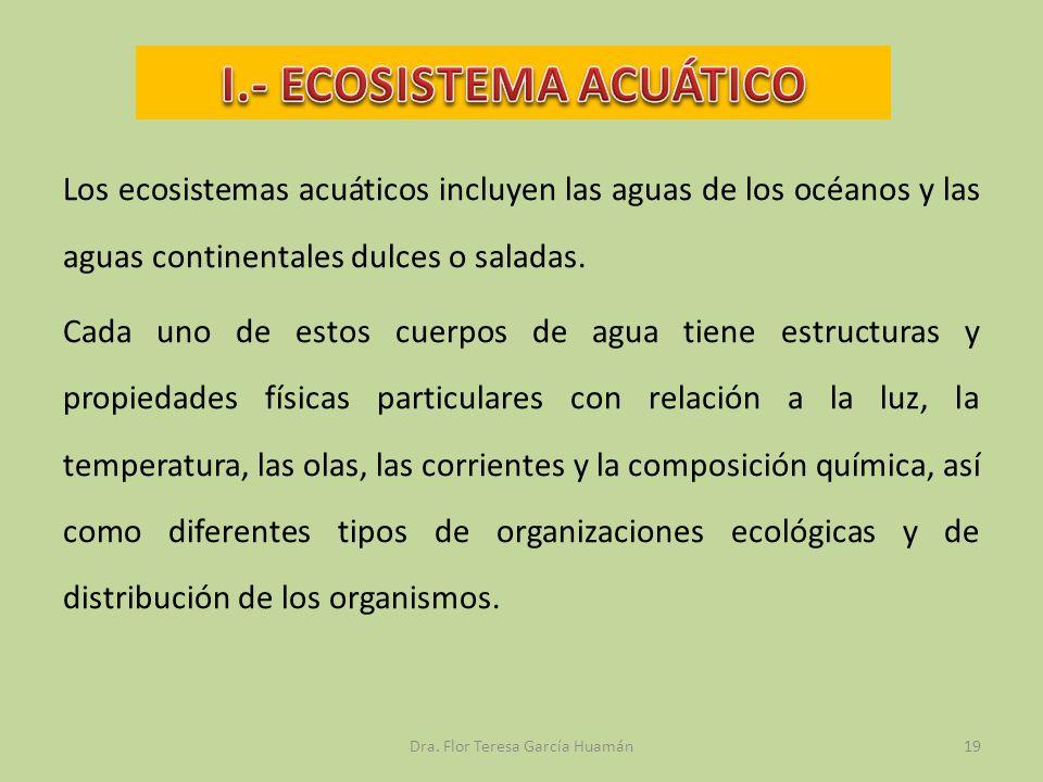 Los ecosistemas acuáticos incluyen las aguas de los océanos y las aguas continentales dulces o saladas. Cada uno de estos cuerpos de agua tiene estruc