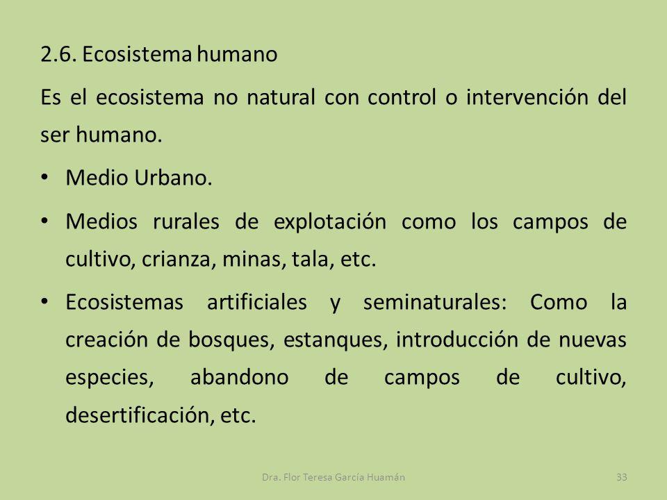 2.6. Ecosistema humano Es el ecosistema no natural con control o intervención del ser humano. Medio Urbano. Medios rurales de explotación como los cam