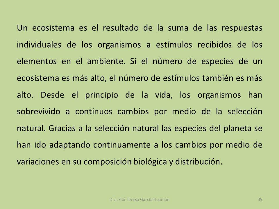 Un ecosistema es el resultado de la suma de las respuestas individuales de los organismos a estímulos recibidos de los elementos en el ambiente. Si el