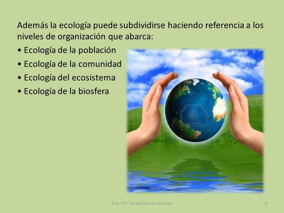 Además la ecología puede subdividirse haciendo referencia a los niveles de organización que abarca: Ecología de la población Ecología de la comunidad