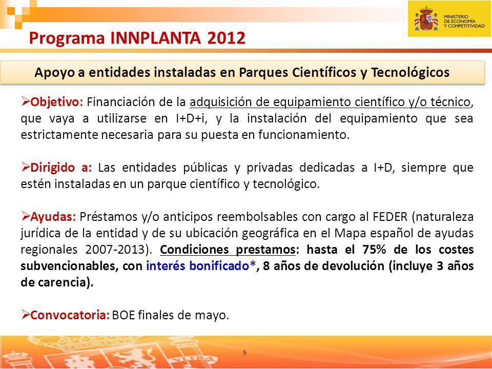 5 Programa INNPLANTA 2012 Apoyo a entidades instaladas en Parques Científicos y Tecnológicos Objetivo: Financiación de la adquisición de equipamiento científico y/o técnico, que vaya a utilizarse en I+D+i, y la instalación del equipamiento que sea estrictamente necesaria para su puesta en funcionamiento.